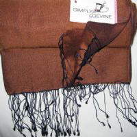 Watersilk Pashmina (Coffee & Navy) KK99